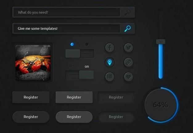 Interfaccia utente scuro con luci blu