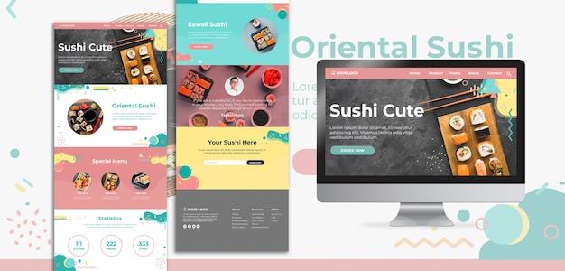 Interfaccia web e landing page del giorno internazionale dei sushi