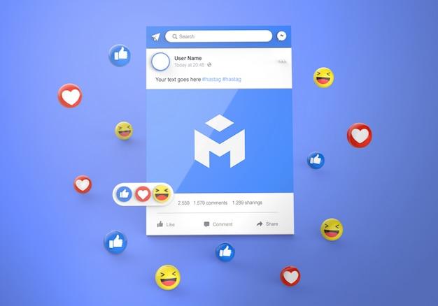 Interfaz 3d social media facebook con maqueta de reacciones emoji