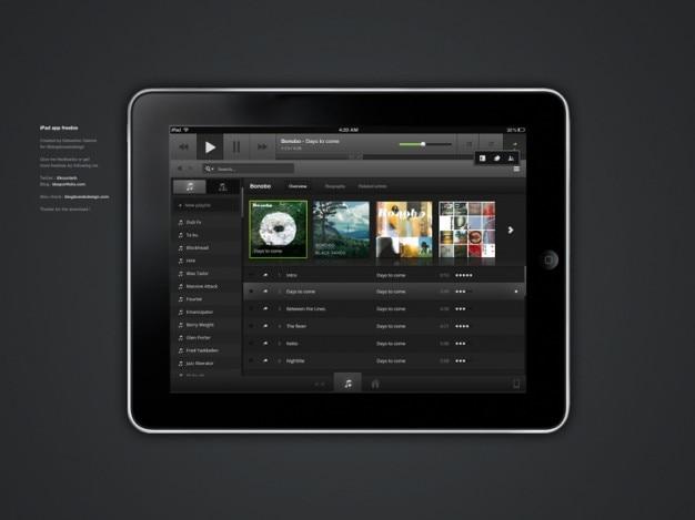 Interfaz de música negro con fotos