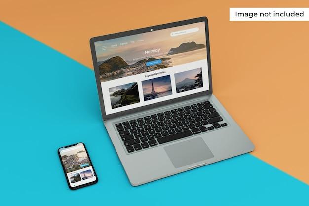 Interfaz móvil realista y maqueta de pantalla de computadora portátil