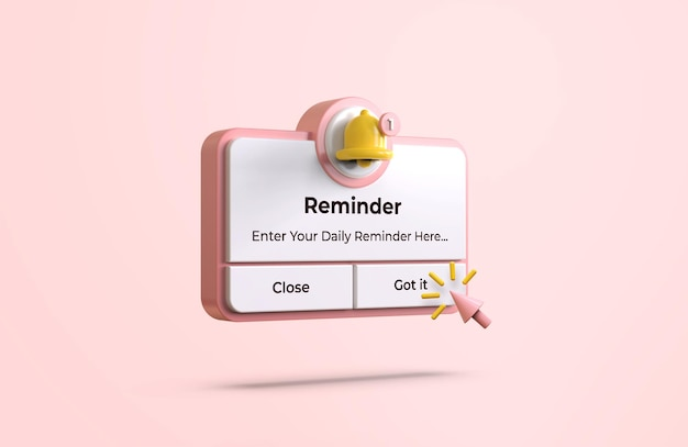 Interfaz pink reminder en maqueta de diseño 3d