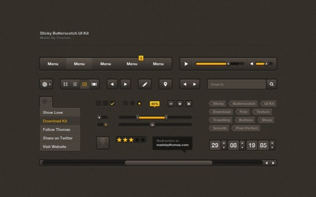 Interfaz de usuario oscuro con barras de color naranja