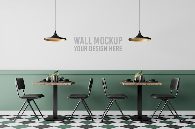 Interieur cafe wall mockup