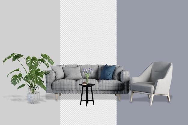 Interieur decoratie set rendering uitknippad geïsoleerd