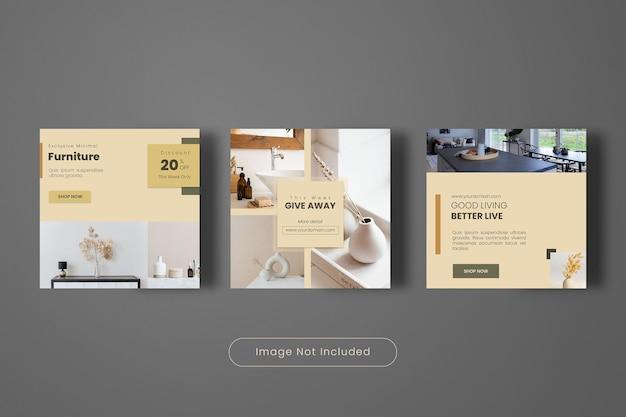 Interieur design instagram post banner template set