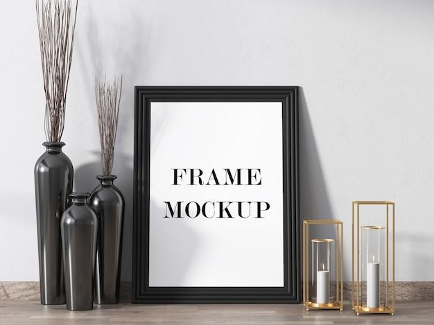 Interieur fotolijst mockup in 3d-rendering