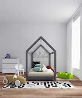 Interieur kinderen slaapkamer muur mockup