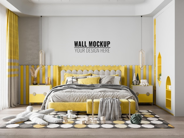 Interieur kinderkamer wallpaper achtergrond mockup