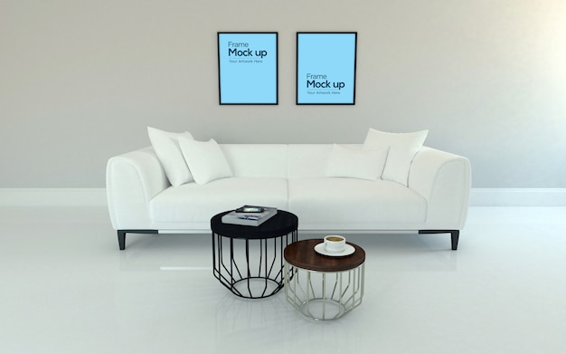 Interieur klassieke woonkamer met bank, tafel en frame mockup