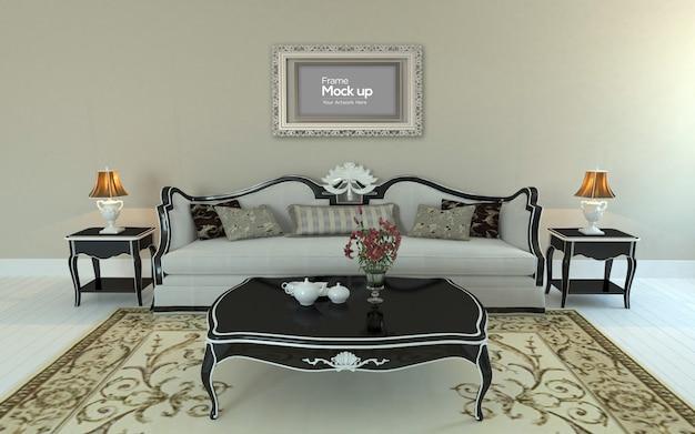 Interieur luxe woonkamer met bank, tafel en frame mockup