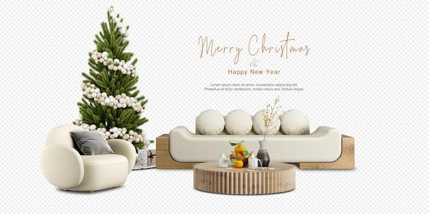 Interieur met comfortabele bank en versierde kerstboom