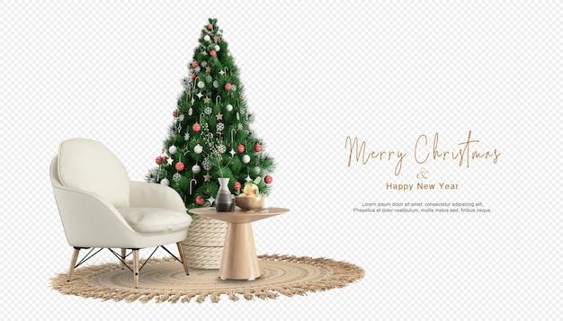 Interieur met fauteuil en versierde kerstboom