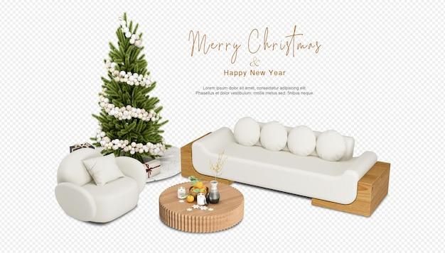 Interieur met versierde kerstboom en bank