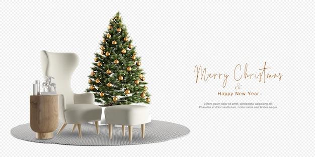 Interieur met versierde kerstboom en fauteuil