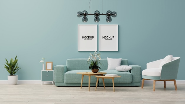Interieur mock up woonkamer. 3d-weergave.