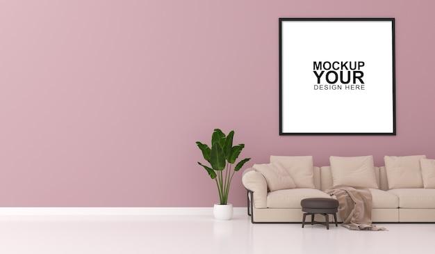 Interieur mockup van fotolijst op muur in 3d-rendering