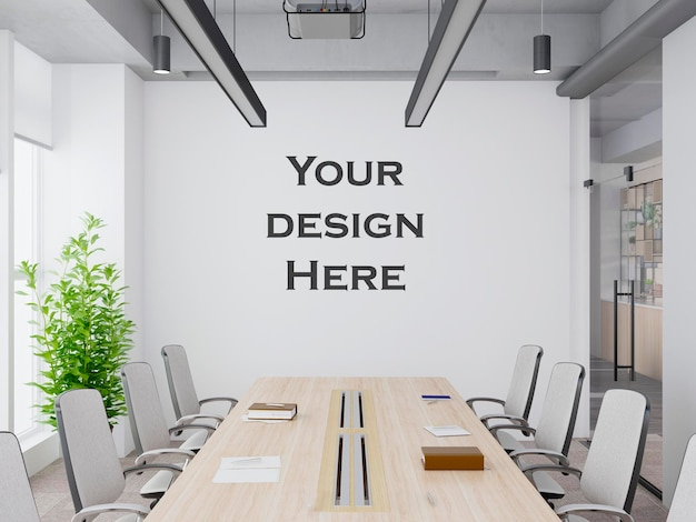 Interieur modern kantoor vergaderruimte muur mockup premium psd