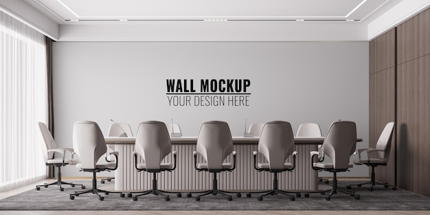 Interieur modern office meeting room wall mockup
