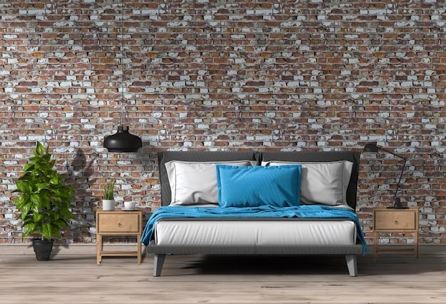 Interieur moderne slaapkamer, minimalisme. 3d render