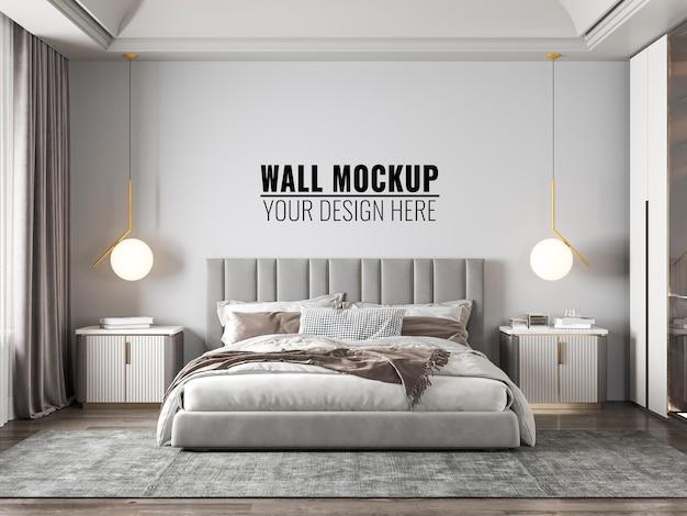 Interieur moderne slaapkamer muur mockup