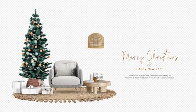 Interieur moderne woonkamer heeft kerstboom en fauteuil in 3d-rendering