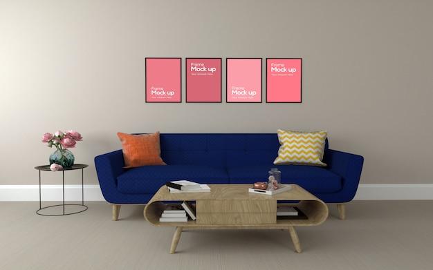Interieur moderne woonkamer met bank en collage van frames mockup