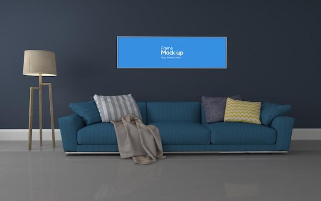 Interieur moderne woonkamer met sofa en frame mockup