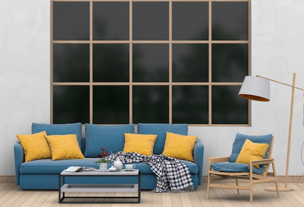 Interieur moderne woonkamer met sofa, plant, lamp, 3d render