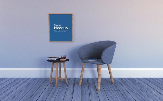 Interieur moderne woonkamer met stoel, tafel en frames mockup Premium Psd