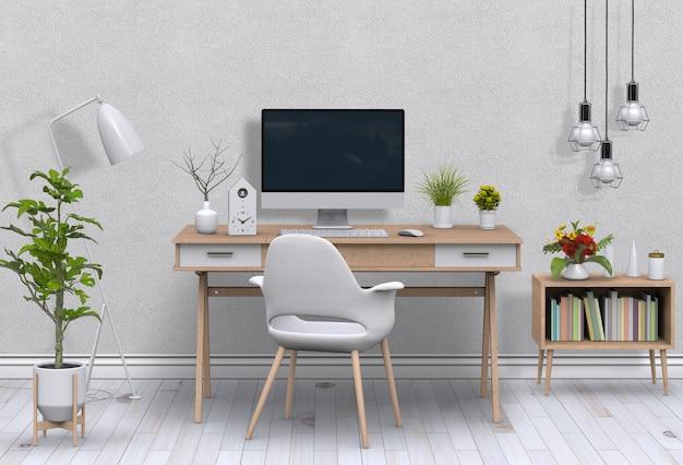 Interieur moderne woonkamer werkruimte met bureau en desktop computer