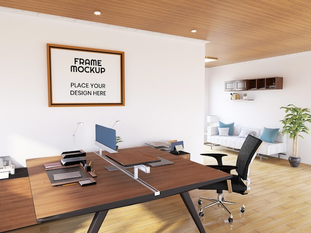 Interieur office room photo frame mockup