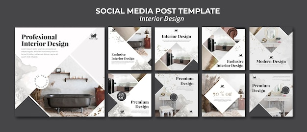 Interieur ontwerp sociale media post-sjabloon