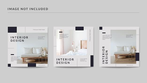 Interieur ontwerp sociale media postsjabloon