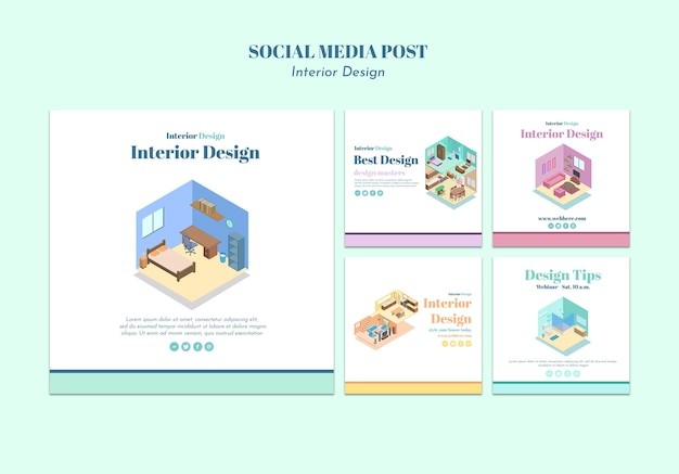 Interieur ontwerp sociale media postsjabloon