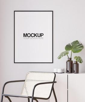 Interieur poster frame mockup met modern meubilair decoratie 3d illustratie 3d render