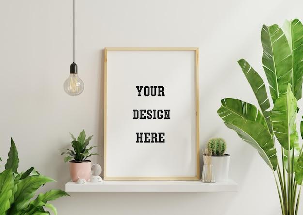 Interieur poster mock-up met verticaal leeg houten frame