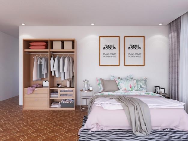 Interieur slaapkamer frame fotomodel