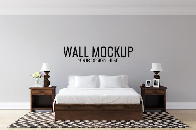 Interieur slaapkamer muur achtergrond mock up