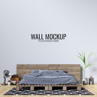 Interieur slaapkamer muur achtergrond mockup