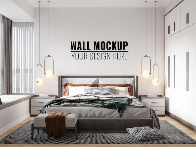 Interieur slaapkamer muur mockup - 3d-rendering
