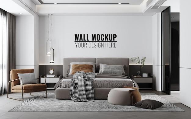Interieur slaapkamer muur mockup, 3d-rendering