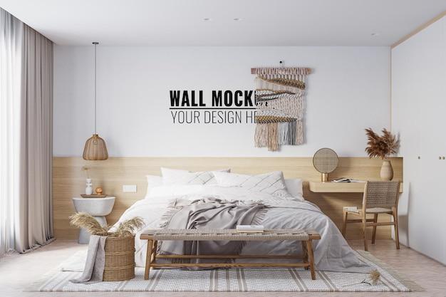 Interieur slaapkamer muur mockup 3d-rendering