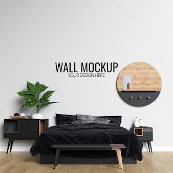 Interieur slaapkamer muur mockup achtergrond