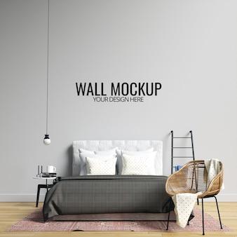 Interieur slaapkamer muur mockup