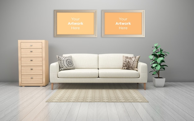 Interieur van moderne bank in de woonkamer met laden en lege fotolijst mockup design