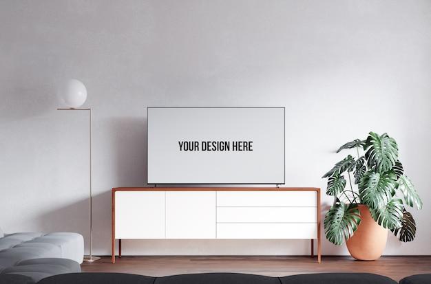 Interieur woonkamer en tv-model