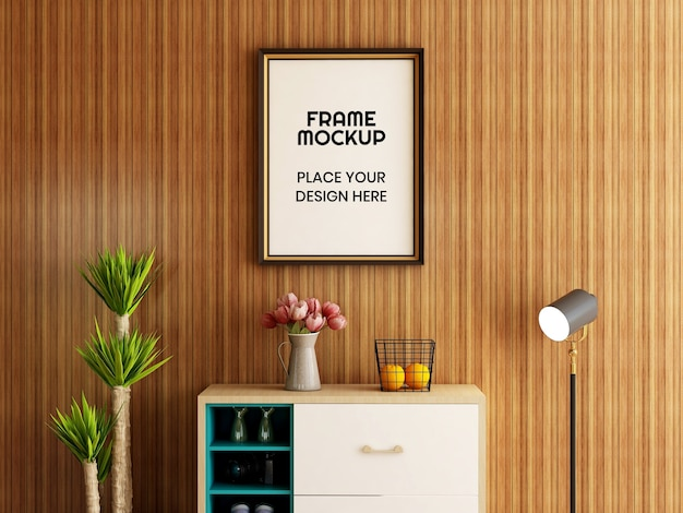 Interieur woonkamer fotolijst mockup