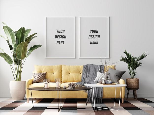 Interieur woonkamer frame mockup