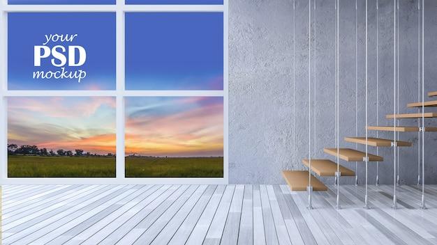 Interieur woonkamer met frame mockup en bekijk mockup Premium Psd
